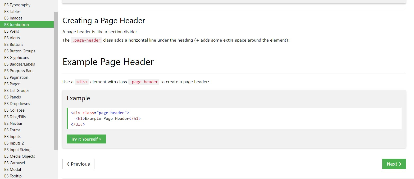 Bootstrap Header  training