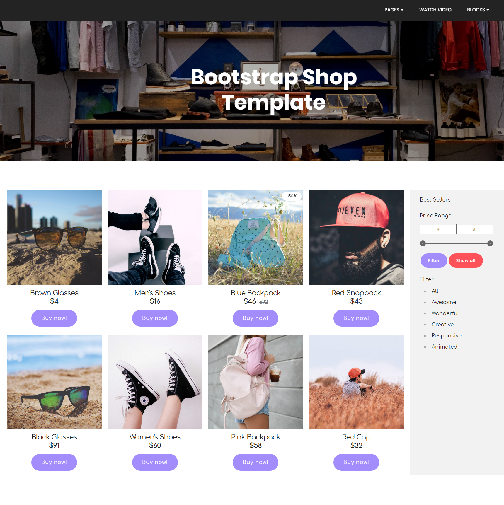Free Bootstrap Shop Themes