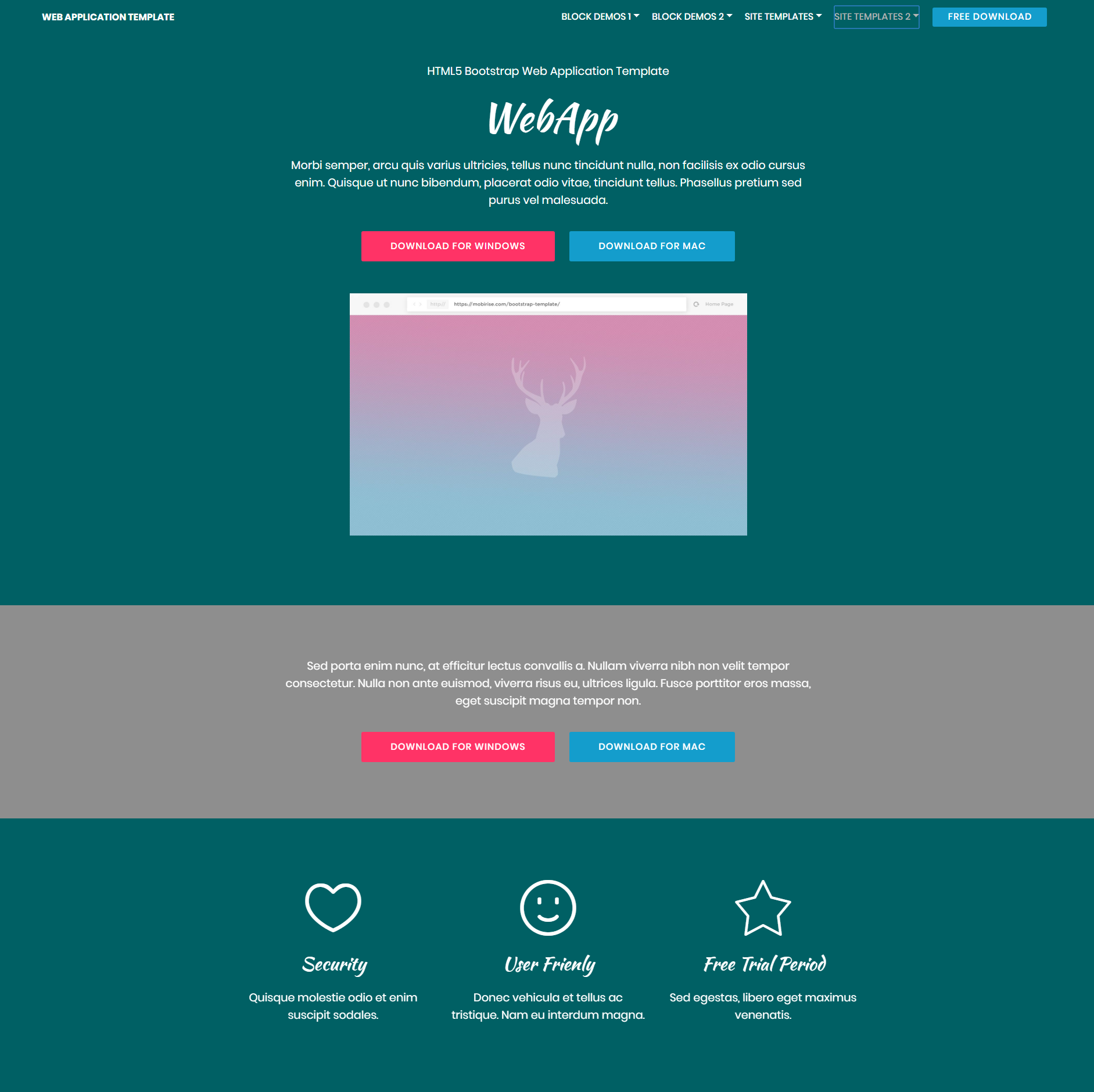 Free Download Bootstrap Web application Templates