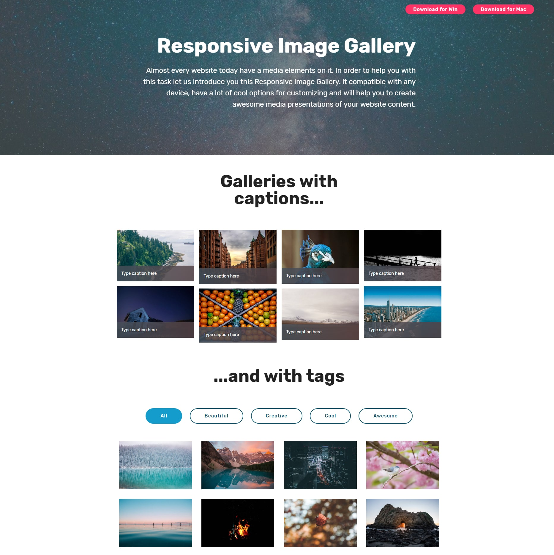 JavaScript Bootstrap Photo Gallery