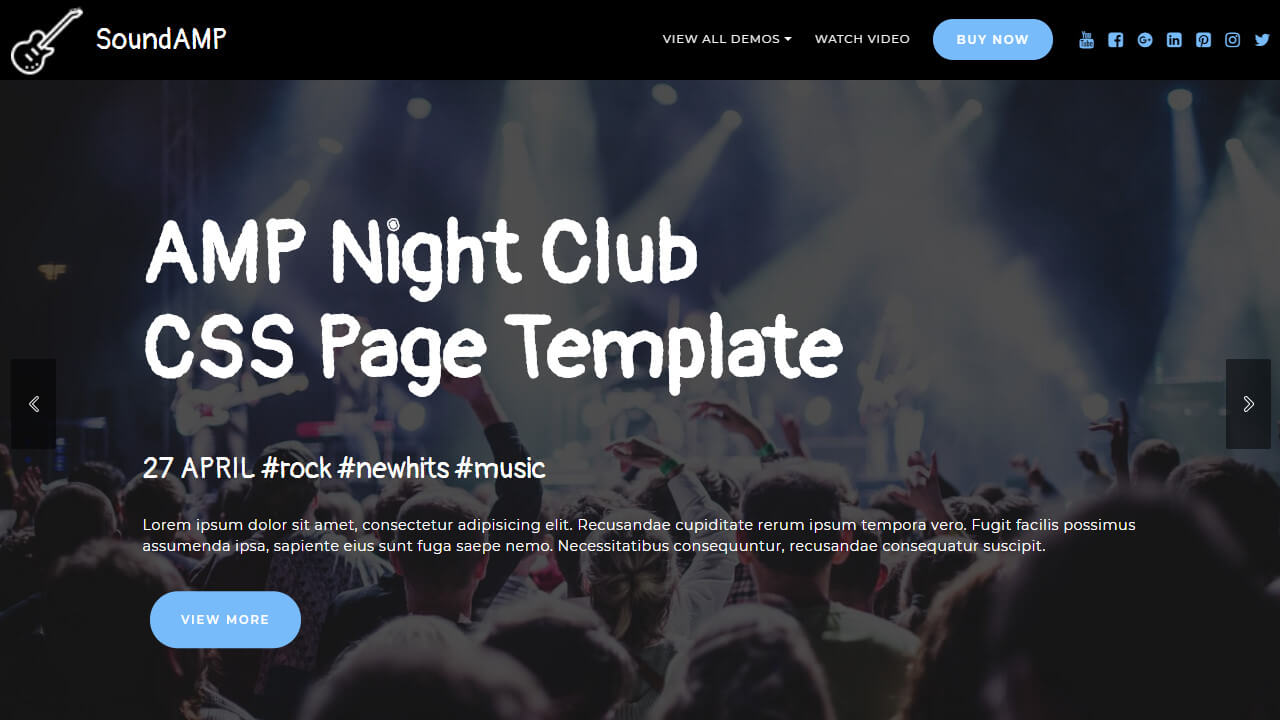 AMP Night Club CSS Page Template